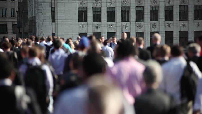 Crowd of pedestrian commuters on London Bridge 04 #2626793