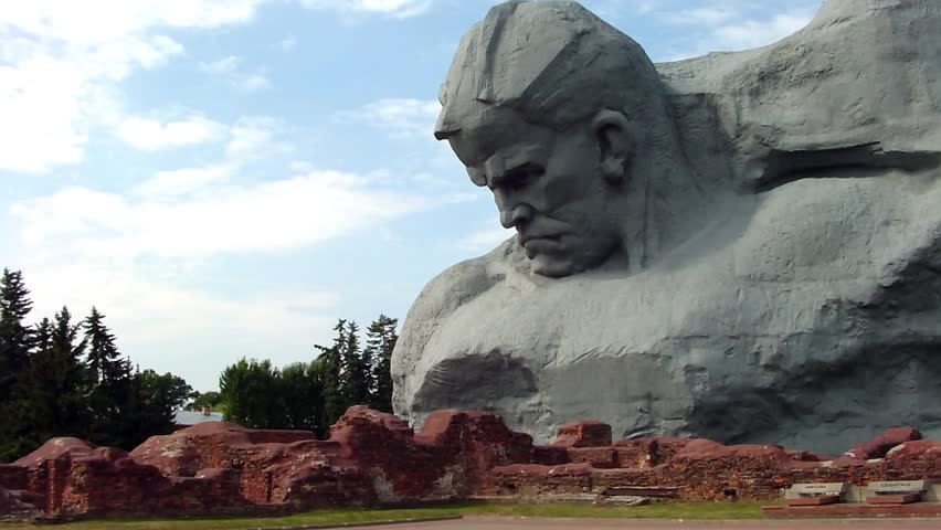 """BREST, BELARUS - AUGUST 4: The """"Courage"""" monument at the Brest Fortress on August 4, 2012 in Brest, Belarus. Here began the invasion of Hitler's Germany on the USSR in 1941. - HD stock video clip"""