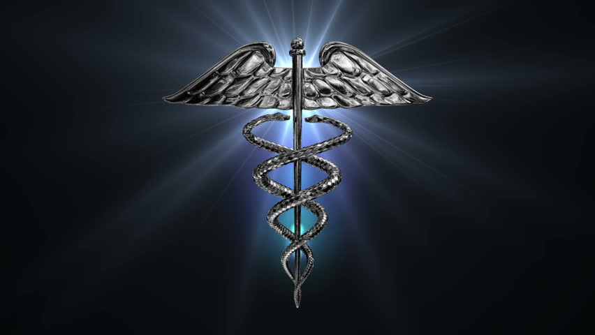 HD - The Caduceus Medical Symbol Rotates On A Blue Grid ...