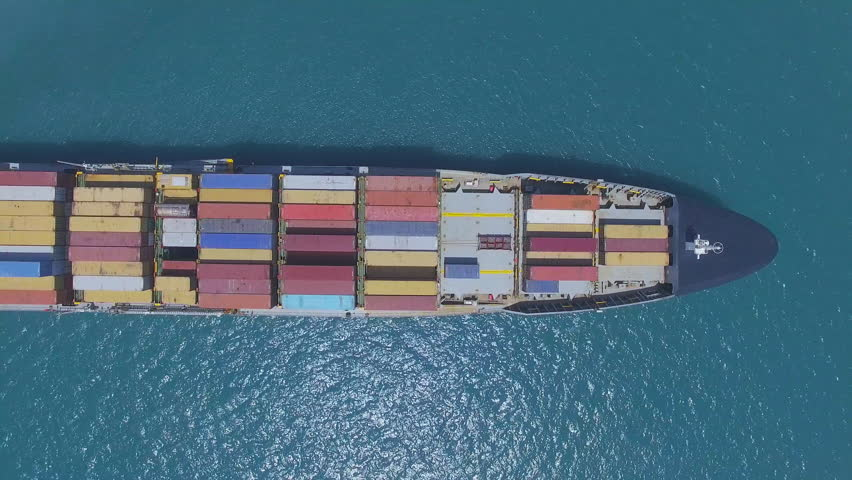Large container ship at sea - Top down Aerial footage | Shutterstock HD Video #26480204