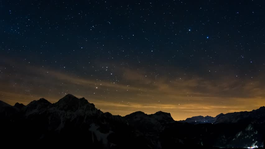 Tropical Waves Sky Mountains Clouds Island Moon Night: Night Sky In Mountains With Stars And Moon Animation With