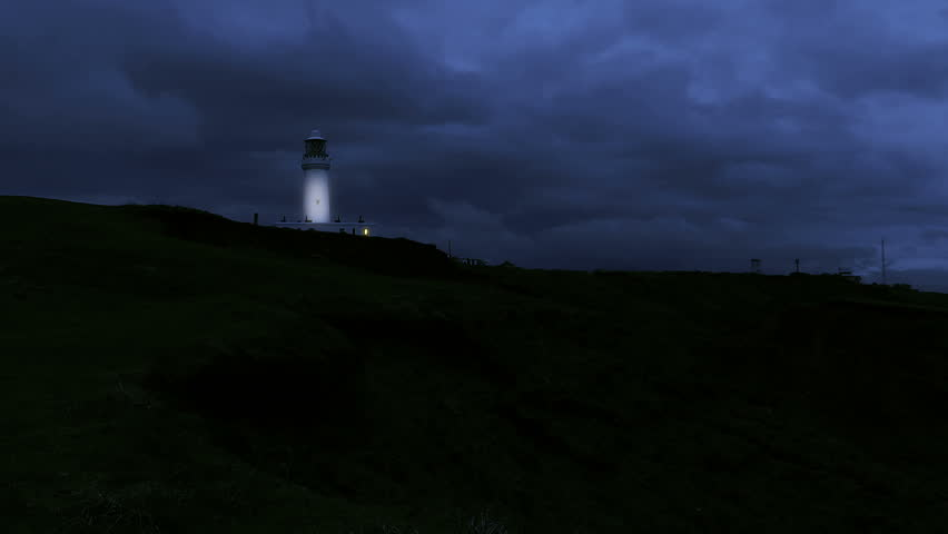 Lighthouse at night HD stock footage