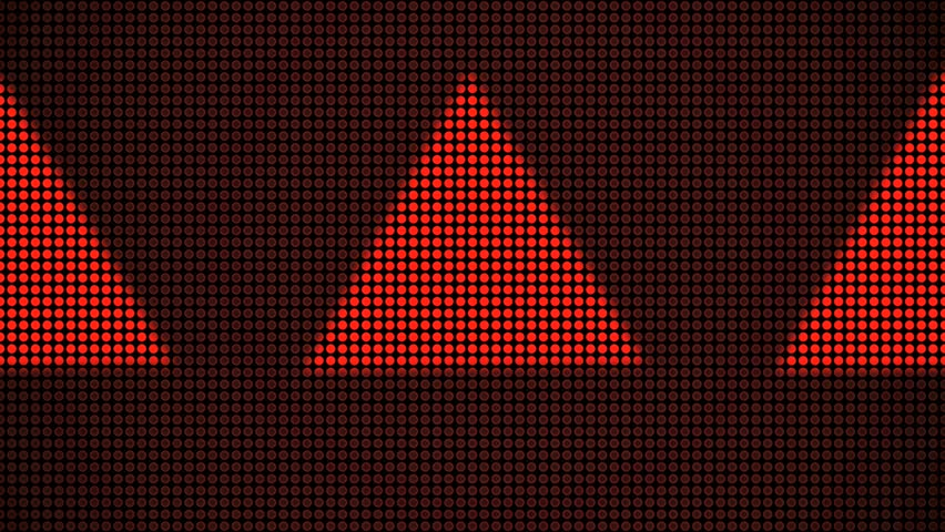 Abstract CGI motion graphics and animated background of spinning red triangles made of tiny red dots - HD stock video clip