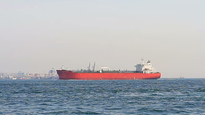 Red tanker ship sails in to Bosporus Sea