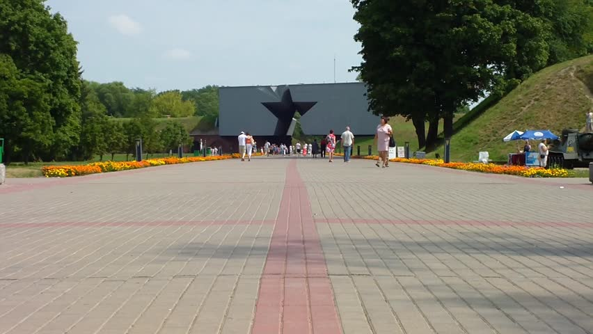 "BREST, BELARUS - AUGUST 4, 2012: Monument to ""The Star"" - The outer facade of the Kholmsky gate Brest Fortress.