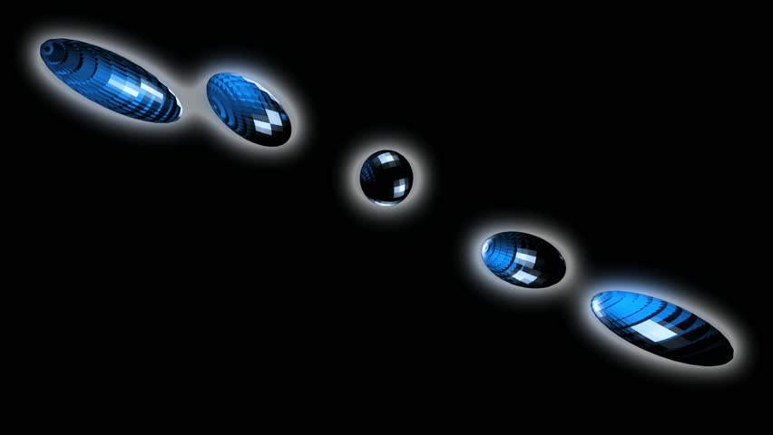 Abstract CGI motion graphics and animated background featuring circles falling and spinning on a black background. Colored blue similar to bubbles - HD stock footage clip