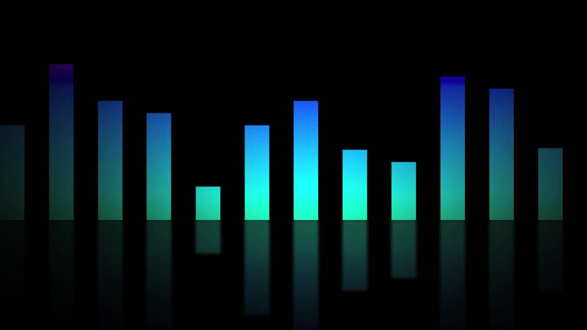 Music Bars Wallpaper: Blue Equalizer Animation, 3d Render Stock Footage Video