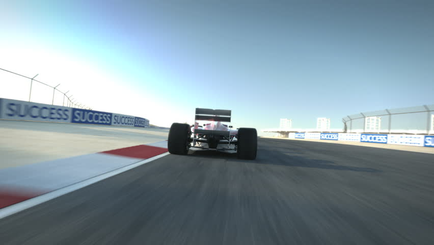 driving behind Formula One race car on desert circuit - high quality 3d animation - visit our portfolio for more - HD stock video clip