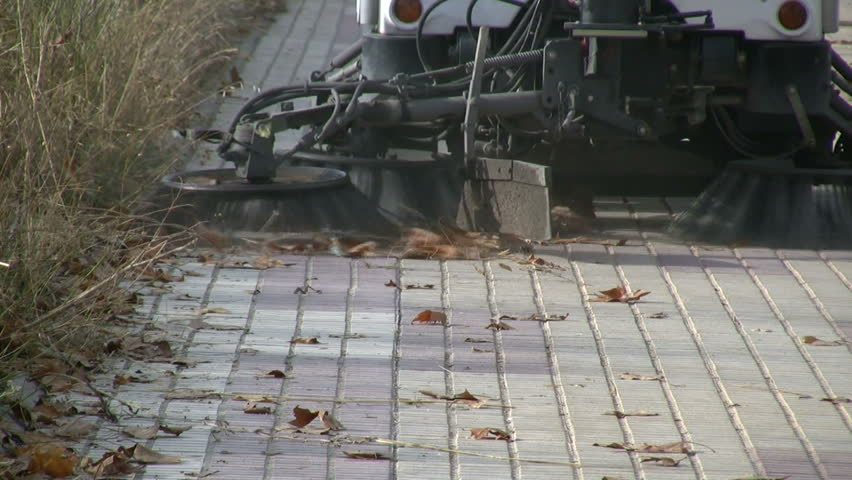 Street cleaning machine at work - HD stock video clip