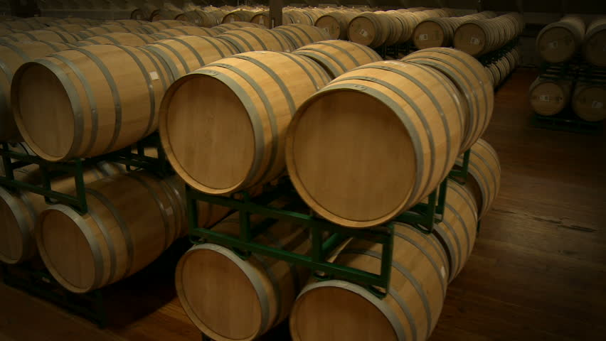 Dolly passed a long row of stacked wine barrels at a winery.