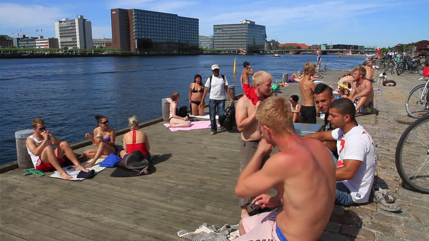 COPENHAGEN, DENMARK - 1st July 2011 - Shot of the Harbour Baths in the summertime. This area is known as Havneparken in the district of Islands Brugge. The water inside Copenhagen is safe - HD stock footage clip
