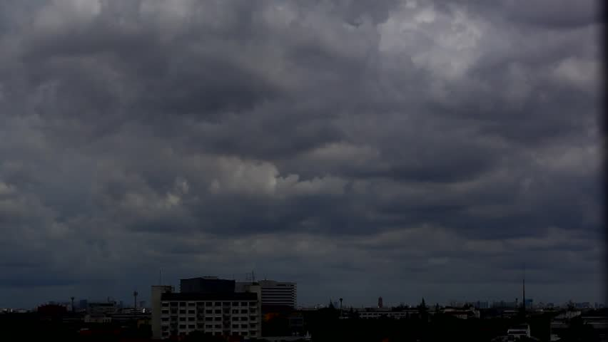 Dark Cloudy Sky Over City Stock Footage Video 2681528 ...
