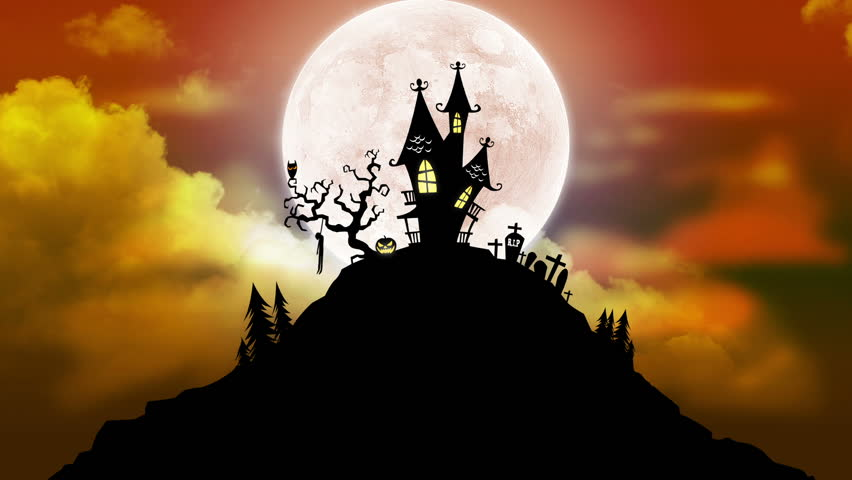 Happy Halloween Background Animation with Moon - HD stock video clip