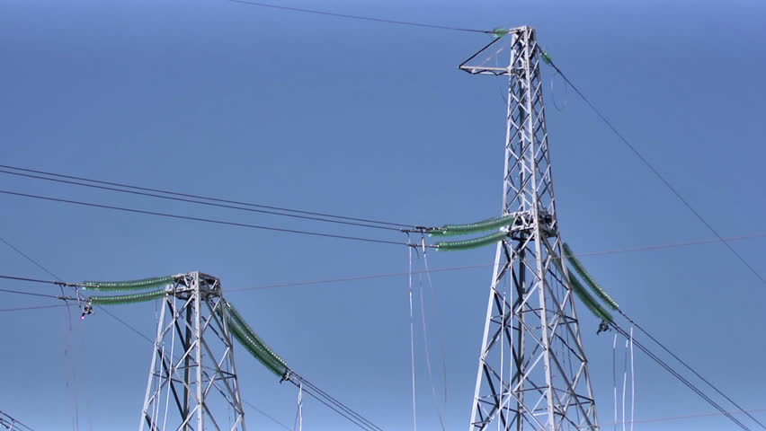 Power line, electricity tower - HD stock footage clip