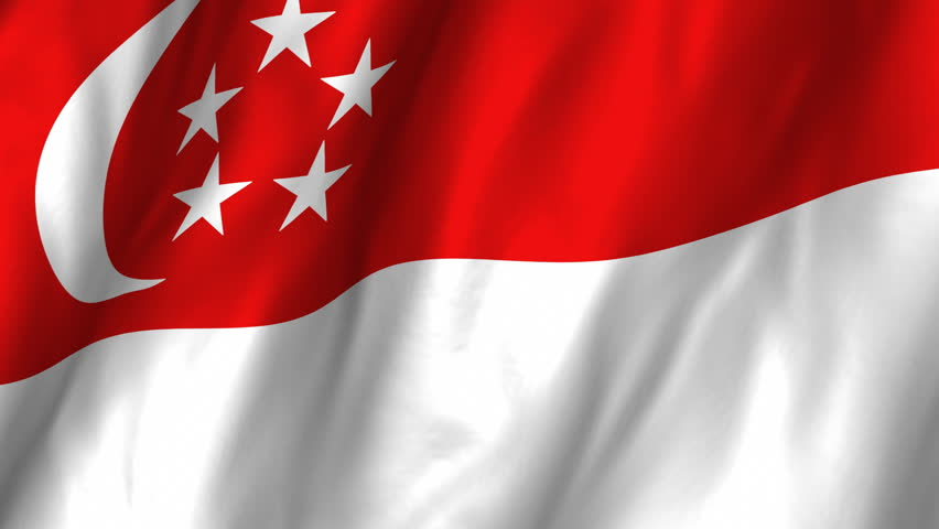 A beautiful satin finish looping flag animation of Singapore.     A fully digital rendering using the official flag design in a waving, full frame composition.  The animation loops at 10 seconds.   - HD stock footage clip