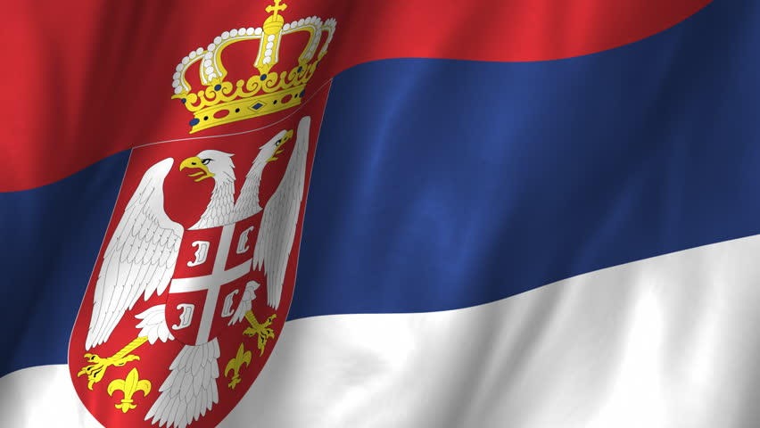 serbian flag in the wind part of a series stock footage