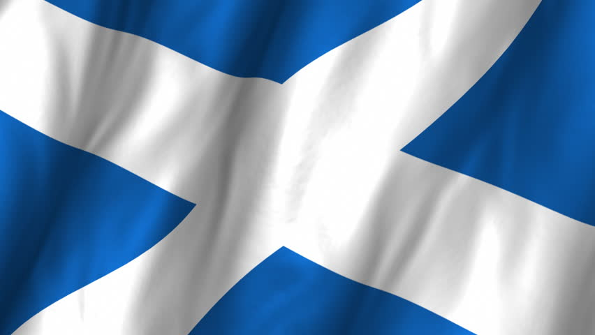 A beautiful satin finish looping flag animation of Scotland.     A fully digital rendering using the official flag design in a waving, full frame composition.  The animation loops at 10 seconds.   - HD stock video clip
