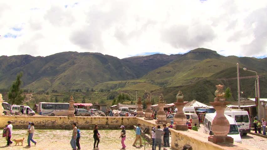 MAKA VILLAGE, PERU - April 2009: Tourists at an ancient site in Maka Village, Peru - HD stock footage clip