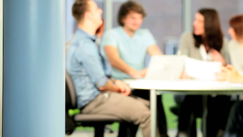 Portrait of smiling multi ethnic university classmate e-learning on IT information class