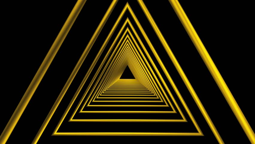 Abstract Motion Background Yellow Triangle Tunnel Black