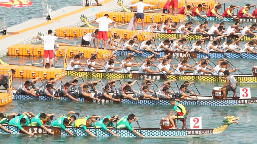 HONG KONG - JUNE 18: Hong Kong International Dragon Boat Races. Dragon boat