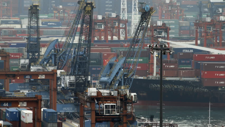 HONG KONG - FEBRUARY 26: Time lapse of Kwai Tsing Container Terminals on