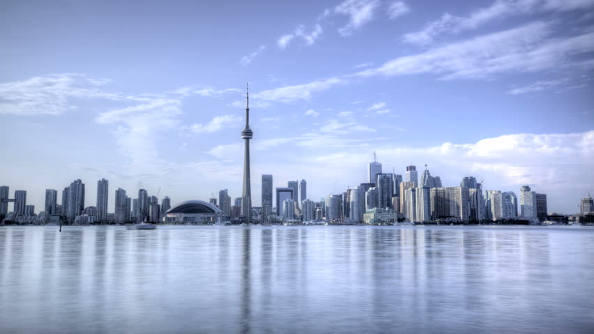 HDR Time lapse Toronto Skyline and CN Tower with Rogers Center daytime | Shutterstock HD Video #2739275