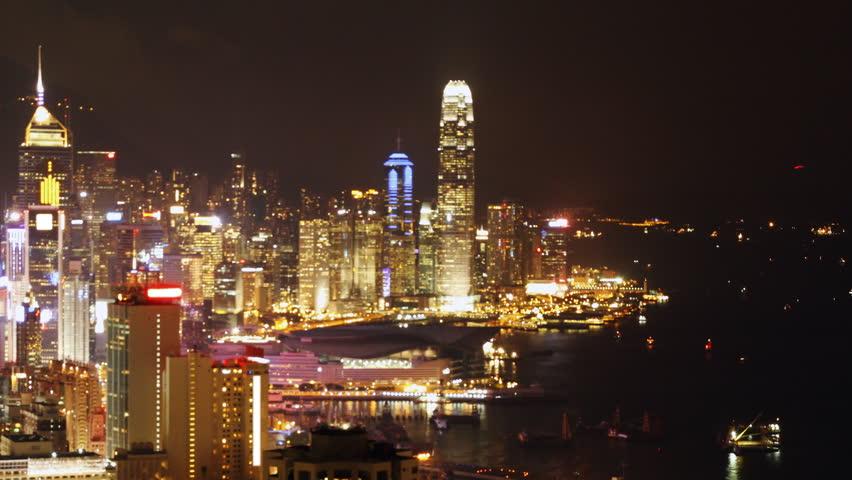 Time lapse of Hong Kong Island night scene.   Shutterstock HD Video #2744684