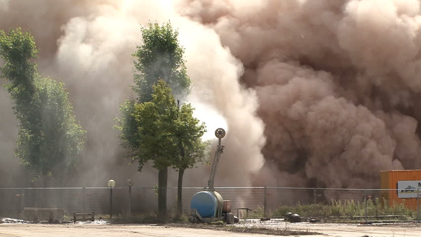 building collapses after explosion with dynamite