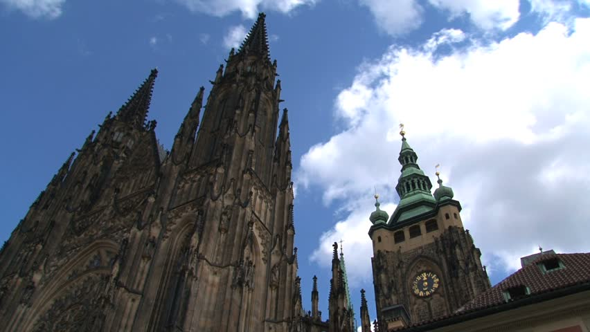 Prague Castle time lapse during a sunny day - HD stock video clip