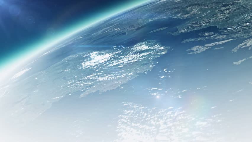 Planet earth with sunrise in space - HD stock footage clip