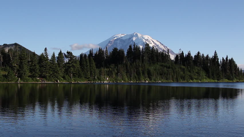 Mount Rainier with reflections in the water at the summit lake in Washington state, USA #2769668