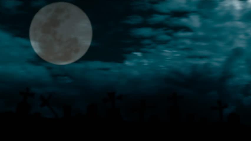 Spooky full moon shines over dark graveyard in mist HD 1080p