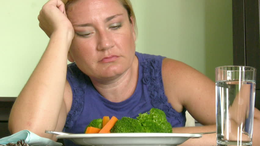 Woman trying to do diet - HD stock footage clip