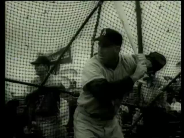 Dodgers baseball players practice batting in Florida circa 1958-MGM PICTURES, UNIVERSAL-INTERNATIONAL NEWSREEL, USA, filmed in 1958 - SD stock footage clip