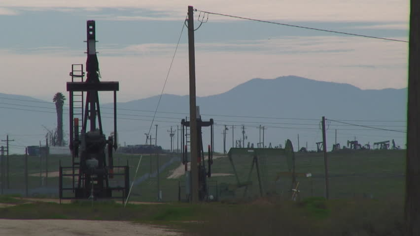 Beautiful View Of Oil Field In Central California - HD stock footage clip