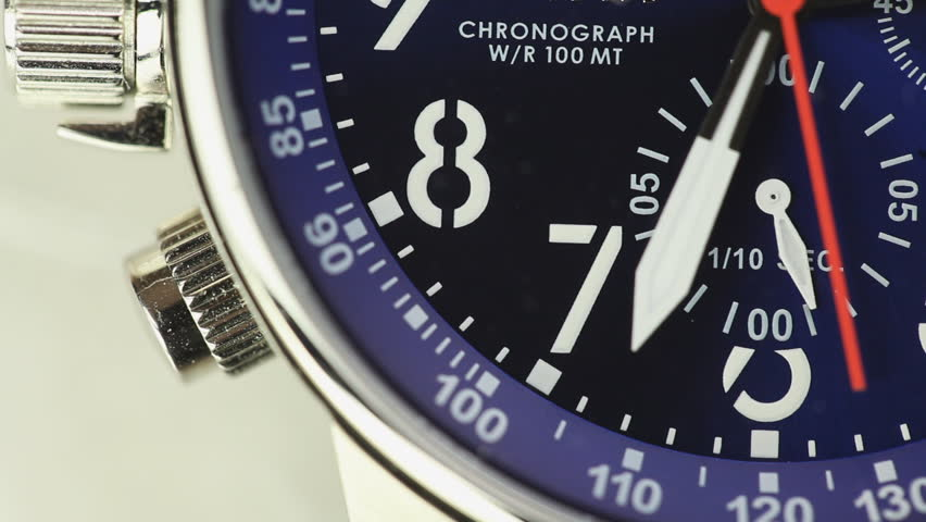 Macro Close Up Of A Moderns Divers Watch Chronograph Watch Face