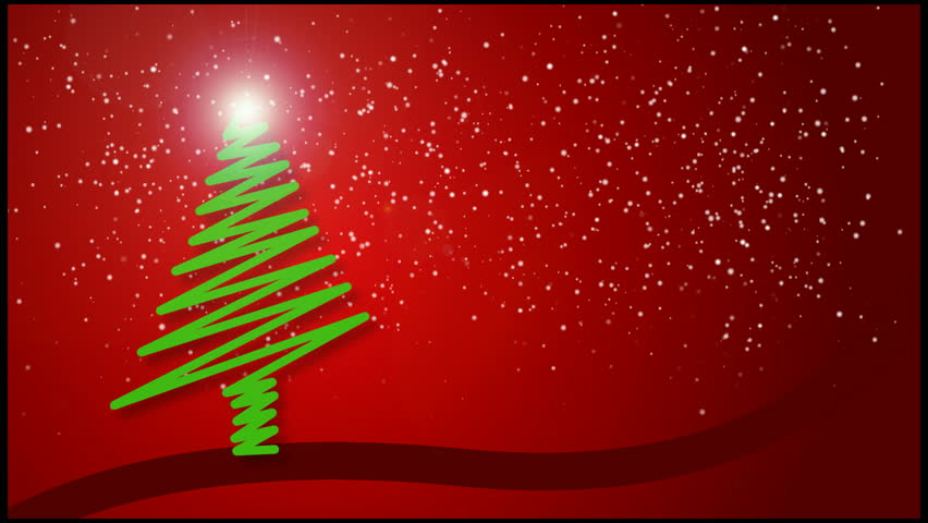 A festive holiday christmas tree surrounded by falling snow. Version 1 of 2. - HD stock footage clip