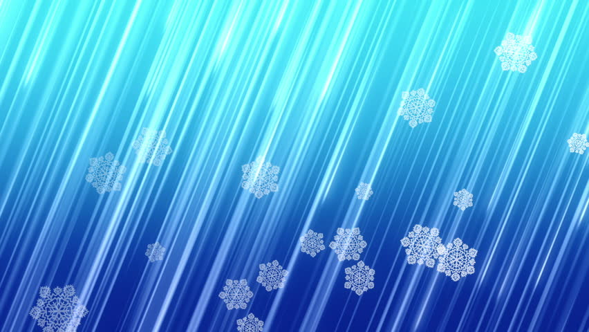 Christmas snowflakes falling on blue background.