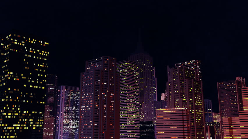 Camera rotates around night city. Loop ready animation.