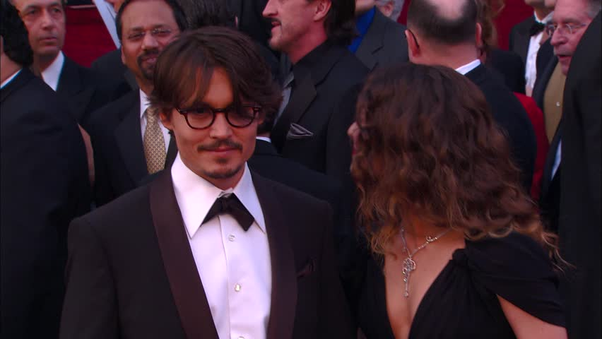 Hollywood, CA - FEBRUARY 24, 2008: Johnny Depp, Vanessa Paradis, walks the red carpet at the Academy Awards 2008 held at the Kodak Theatre