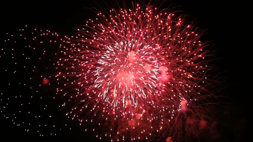 Colorful Firework lights streaks in the night sky in Full HD 1080p - HD stock video clip