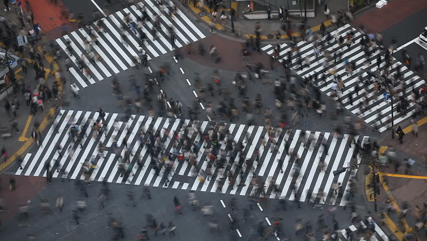 Time Lapse Aerial View Shibuya Pedestrians Crossing Crosswalk Cars Traffic Tokyo City, Tokio Japan, Japanese Anonymous Crowds Sidewalk, Shopping Street, Busy Asian, Famous Tourist Attraction Rush Hour