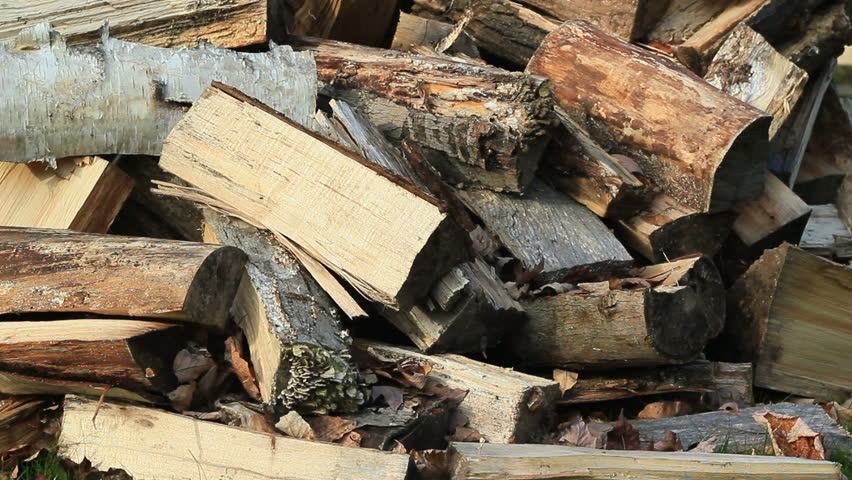 Firewood split then piled up for winter fuel.
