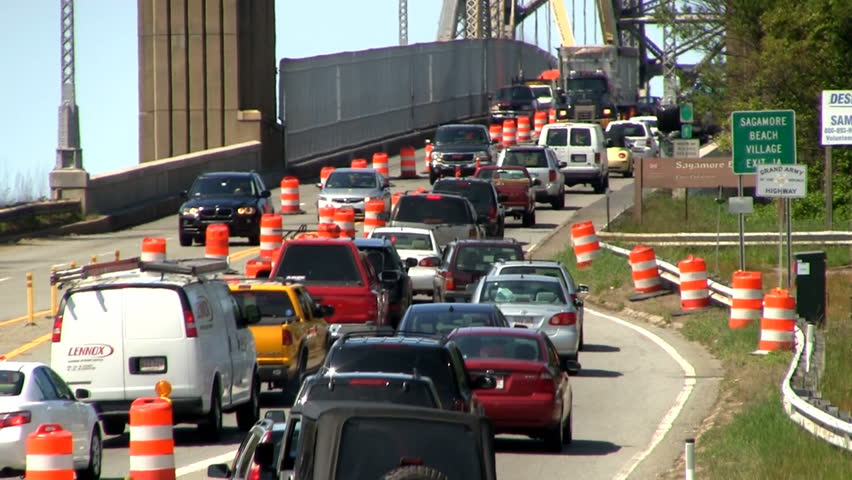 CAPE COD - JUNE 26th;   Traffic merges onto Sagamore bridge as summer season begins on Cape Cod JUNE 26th, 2012 SANDWICH, MA