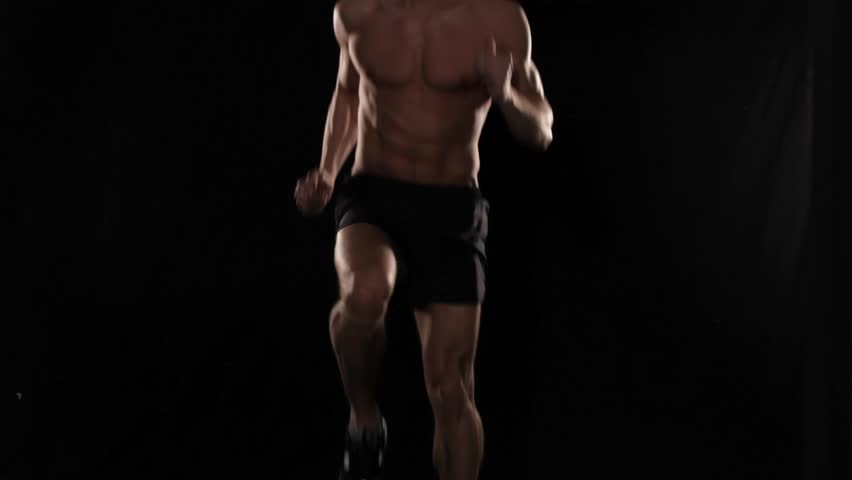 Front and side of man running in place - HD stock footage clip