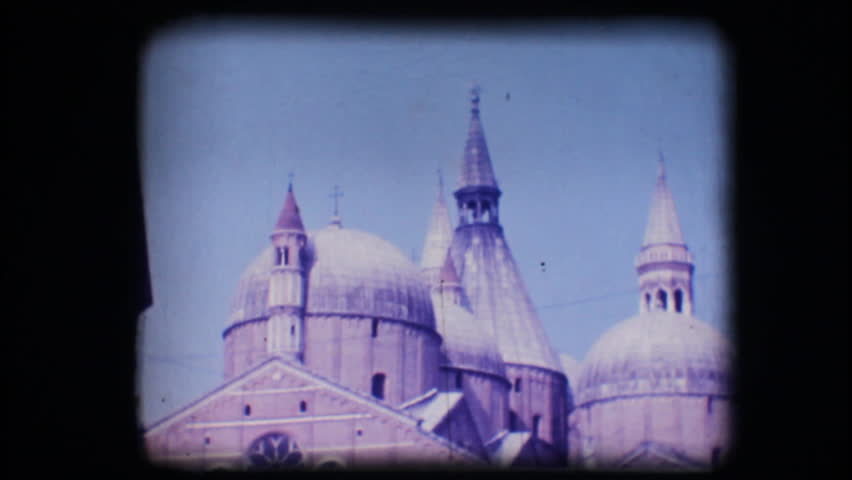Vintage 8mm. Original footage digitalized. View of church San Antonio in Padova
