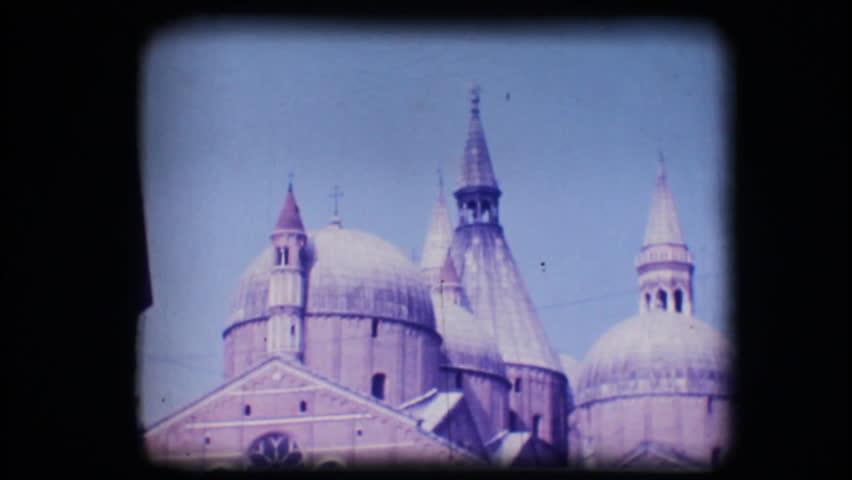 Vintage 8mm. Original footage digitalized. View of church San Antonio in Padova  - HD stock footage clip
