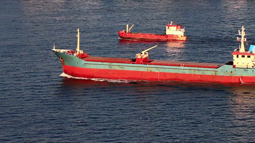 A pair of red cargo ships sailing into the open sea