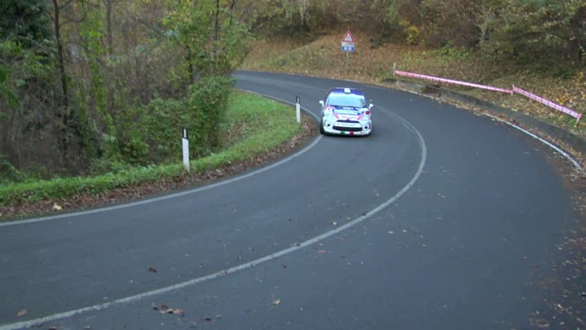 COMO, ITALY - NOV 15: A rally driver racing in the 31 Rally Trophy Como on November 15, 2012 in Sormano, Como, Italy. - HD stock footage clip